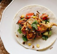 Mexican spiced chicken with Blackened corn & wild rice tacos