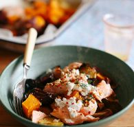 Roast vegetable and salmon bowl
