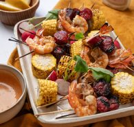 Prawn + Chorizo Skewers with Creamy Paprika Dipping Sauce