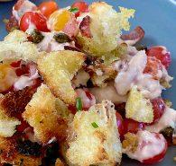 Tomato Tonnato with Caper and Bacon Pangrattato